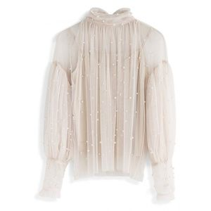 Chicwish Romantic Creame Mesh Pearl Blouse, M